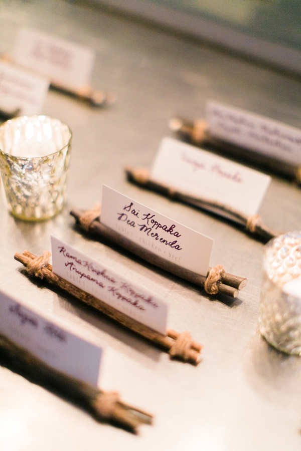 Natural DIY wedding name card holder photography