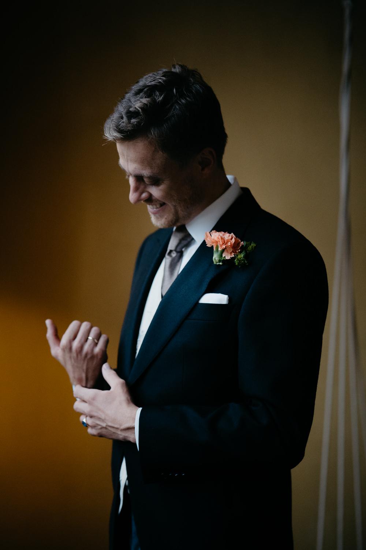 Portrait groom wedding ceremony photographer Mark Hadden