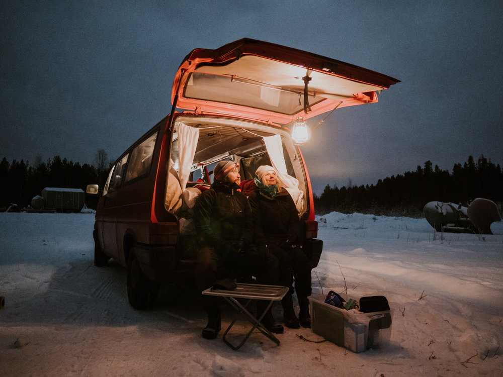 winter road trip van