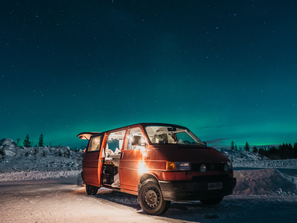 winter road trip van