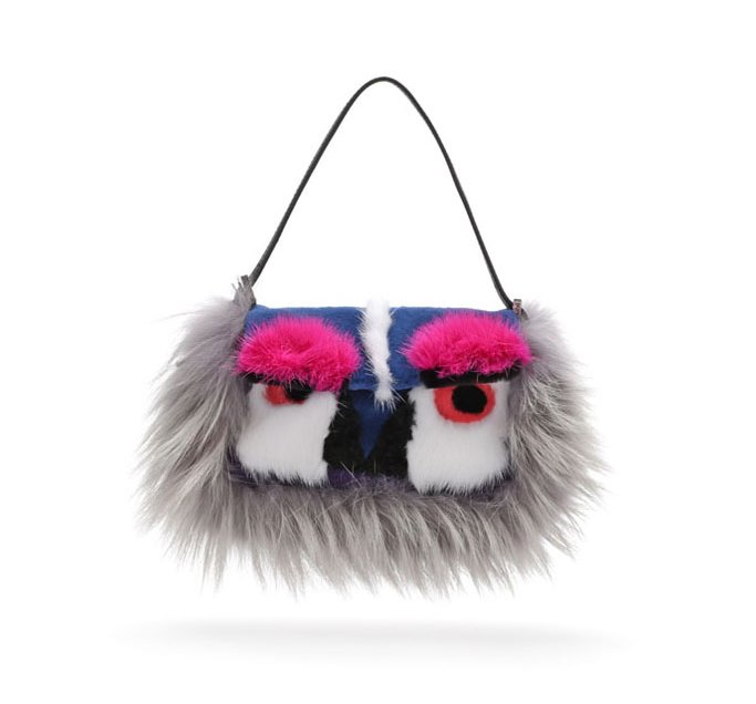 Fendi Fur Mini Monster Baguette Bag