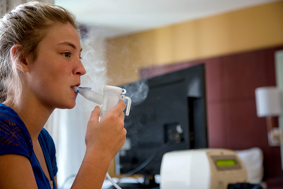 Karen E. Segrave for The Wall Street Journal CYSTIC Chloe Jones, 13, from Walnut Ridge, Ark., uses an  inhaler during her treatment of Cystic Fibrosis in a hotel room in downtown Little Rock, Ark., on Monday, June 30, 2014. Jones has Cystic Fibrosis. Jones and her family are trying to get access to the drug Kalydeco which is used in the treatment of Cystic Fibrosis, but the state of Arkansas is denying access to the drug which costs more than $300,000 per year.
