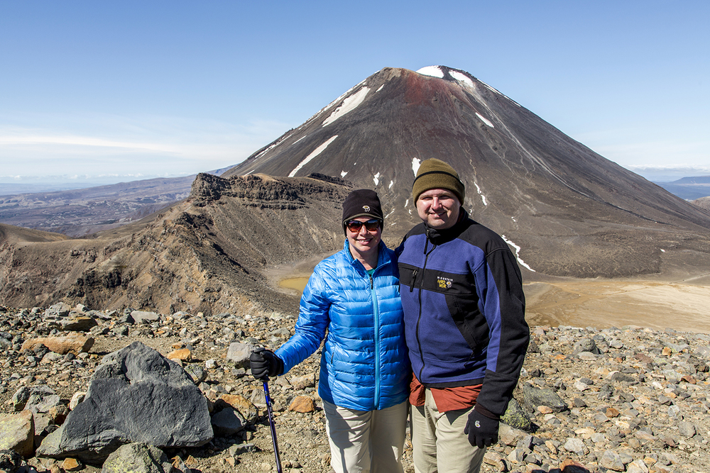 Me and Mike at the top of the Red Crater. Mount Ngauruhoe is to our backs.