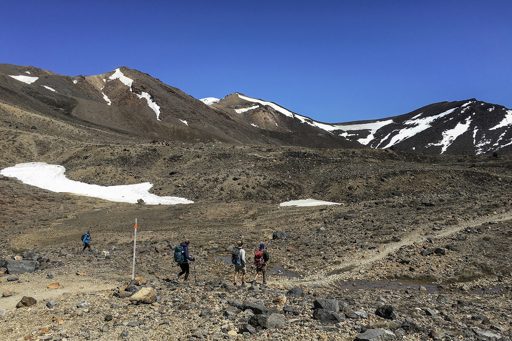 Hikers head into the South Crater on the Alpine Crossing.