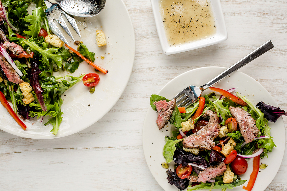 Flank steak salad.