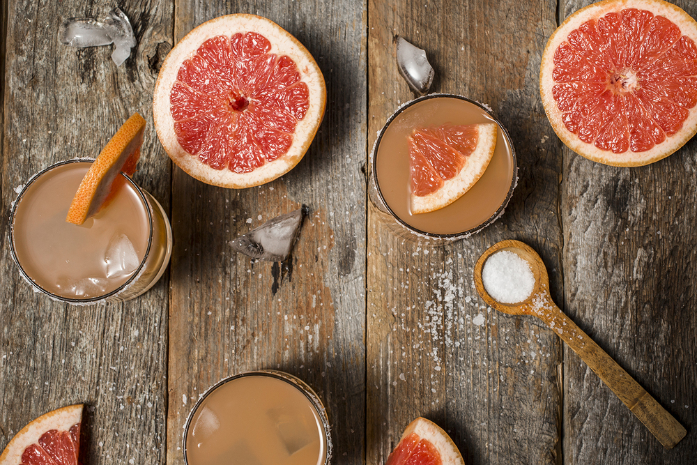 Salty dogs have the great twang of grapefruit spiked with a little vodka or gin, your choice!