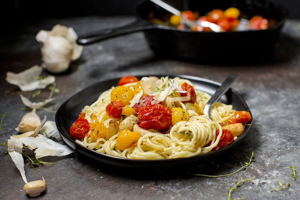 Blistered Cherry Tomatoes with Thin Spaghetti