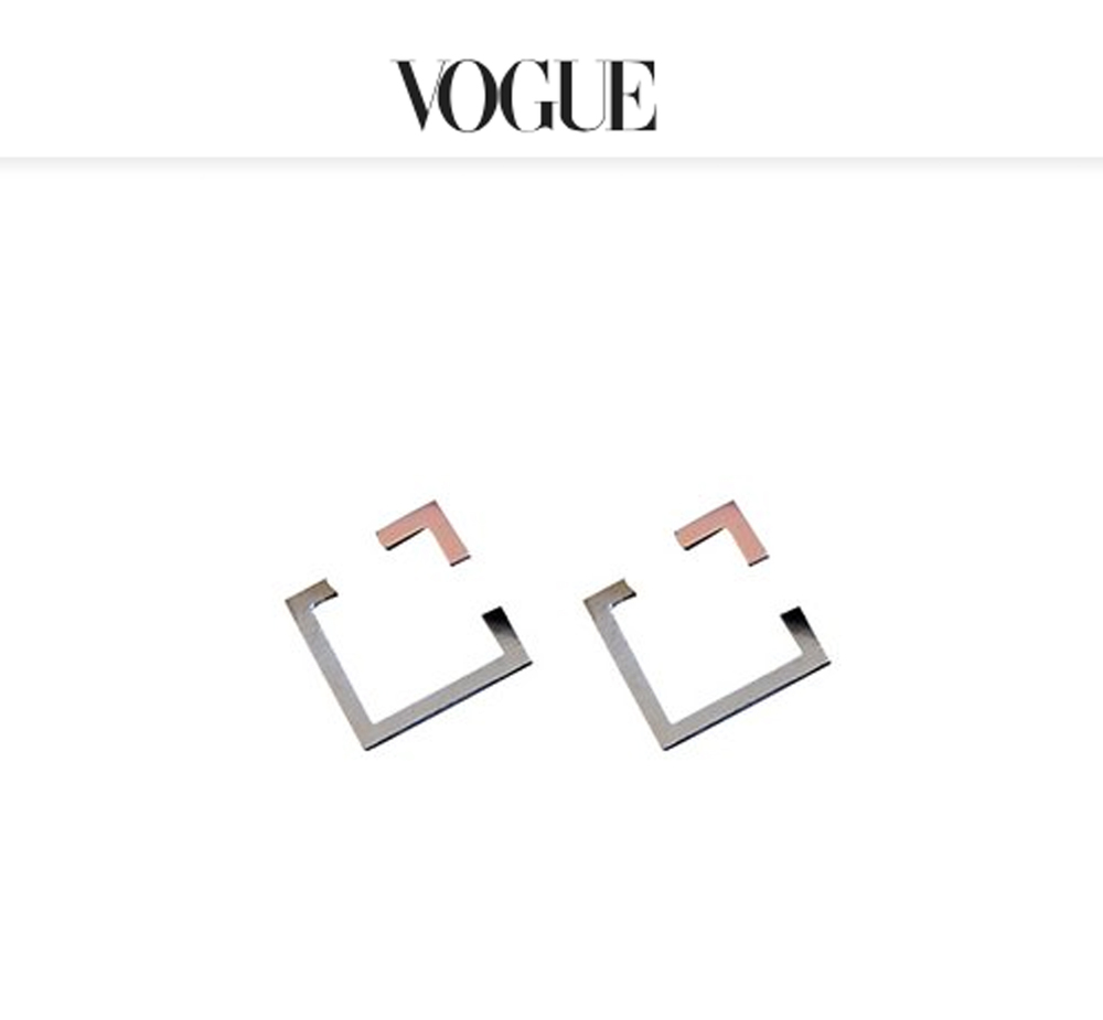 Sterling silver and 14K pink square earrings, $175(COER1-ss14p)