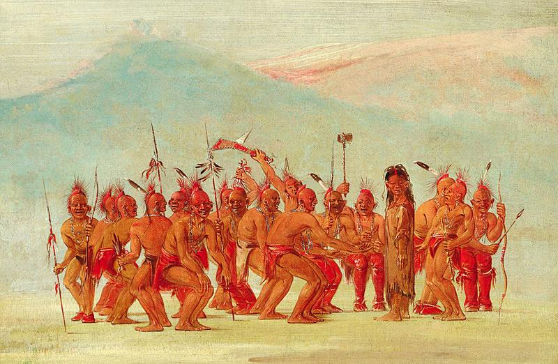 Detail ofDance to the Two-spirit,painted byGeorge Catlin