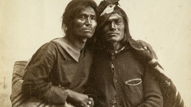 Historic photo of Navajo couple from the collection of the Museum of New Mexico, 1866.""