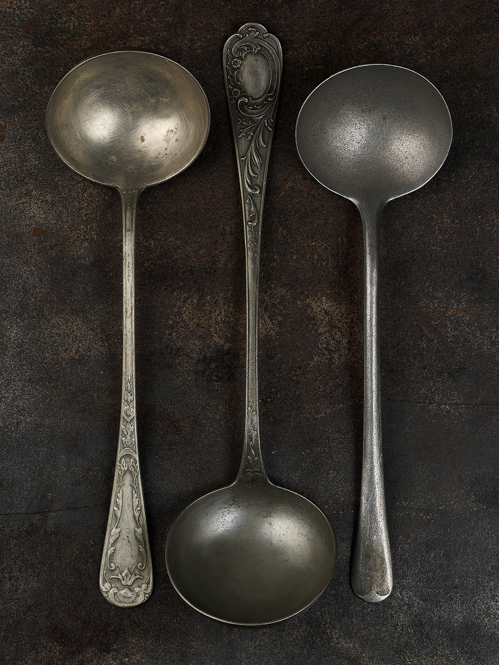 #57 Three Pewter Ladles