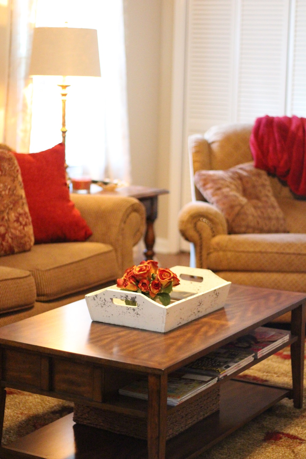 Coffee Table: Ashley from Peters & Foster, Inc. Tray, basket and floral: Home Goods Rug: Front Porch Designs via Surya.com