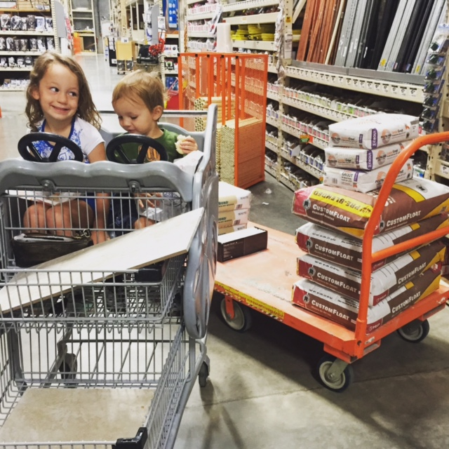 Happily cruising the Home Depot at 7 a.m.