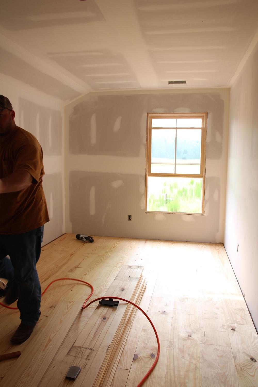 Laying the hardwood floors