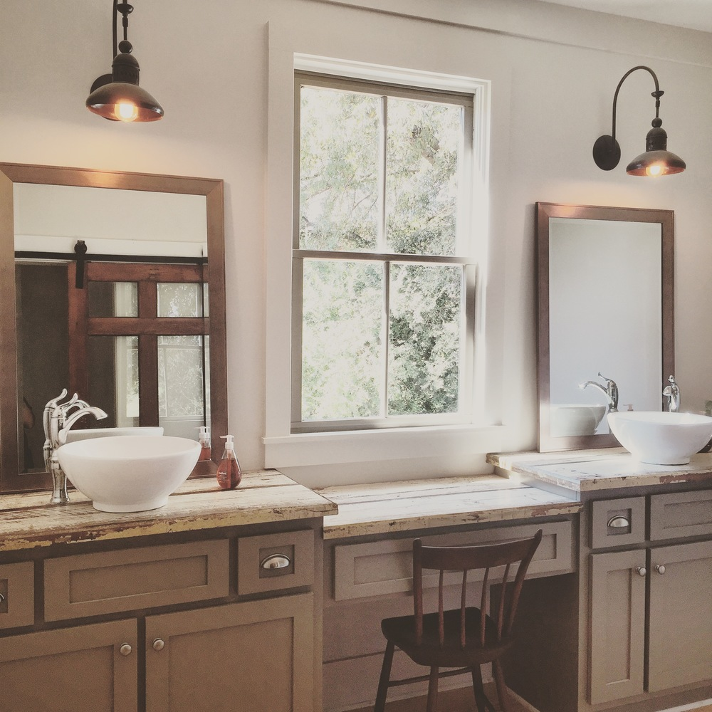 Farmhouse Master Bath Double Sinks with Reclaimed Wood Countertops