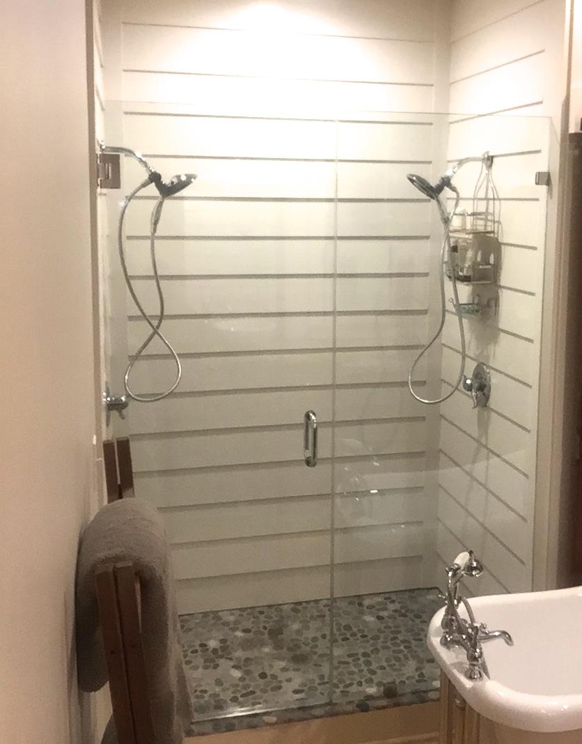 Shiplap Shower from Hardie Siding and Frameless Glass Door
