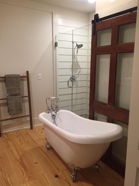 Shiplap Shower Clawfoot Tub Barn Door Master Bath