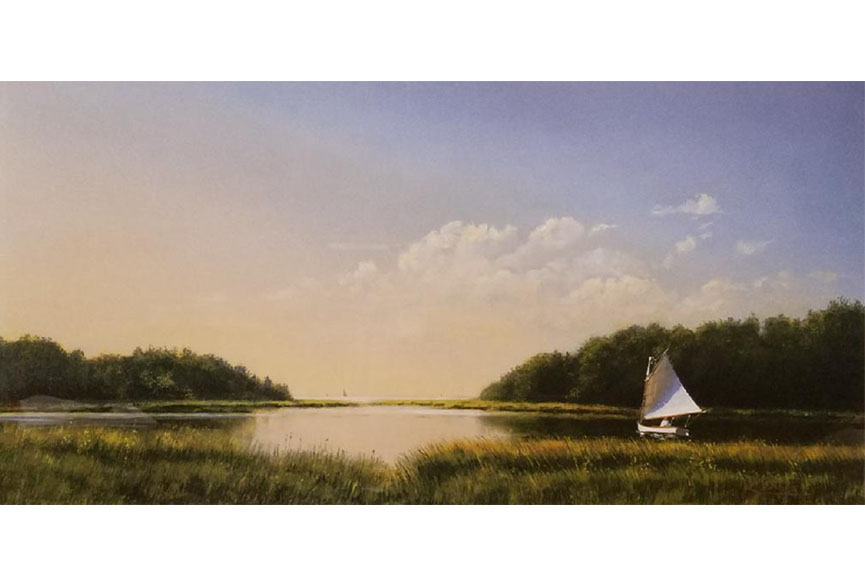 """Evening Sailboat"" by Michael Keane Size:  17.75 x 24.75 in.  $250"