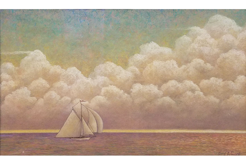 """Sailboat and Clouds"" by Gerard Smith Size: 25.5 x 35 in.  $825"