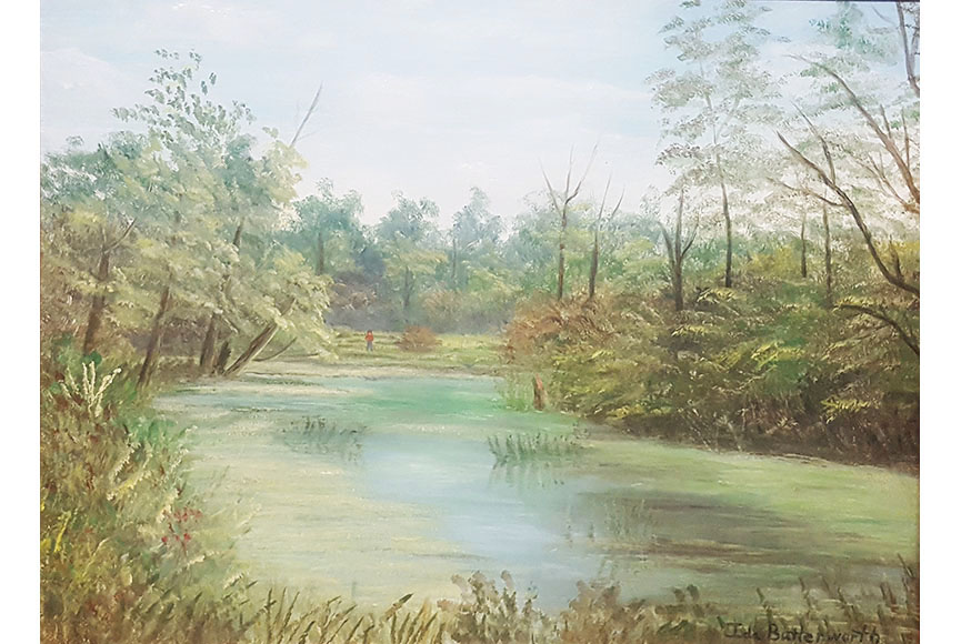 """Brook in the Woods"" by Ida Butterworth Size: 15.5x19.5 in.  $300"
