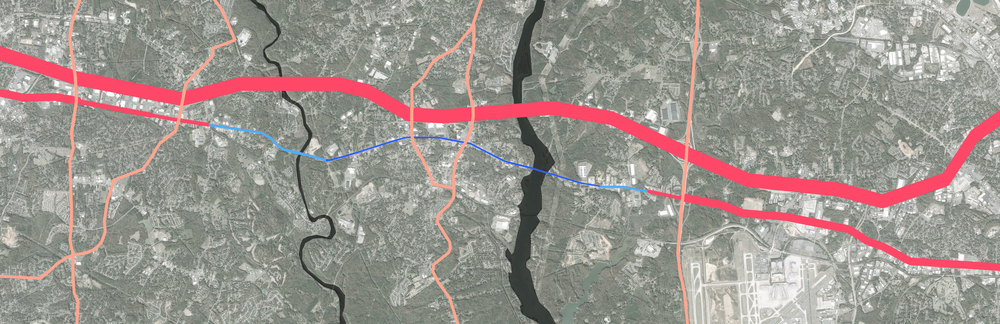 Regional traffic flows and volumes: red lines = increasing flow, blue lines = decreasing flow, thickness of line = volume of traffic