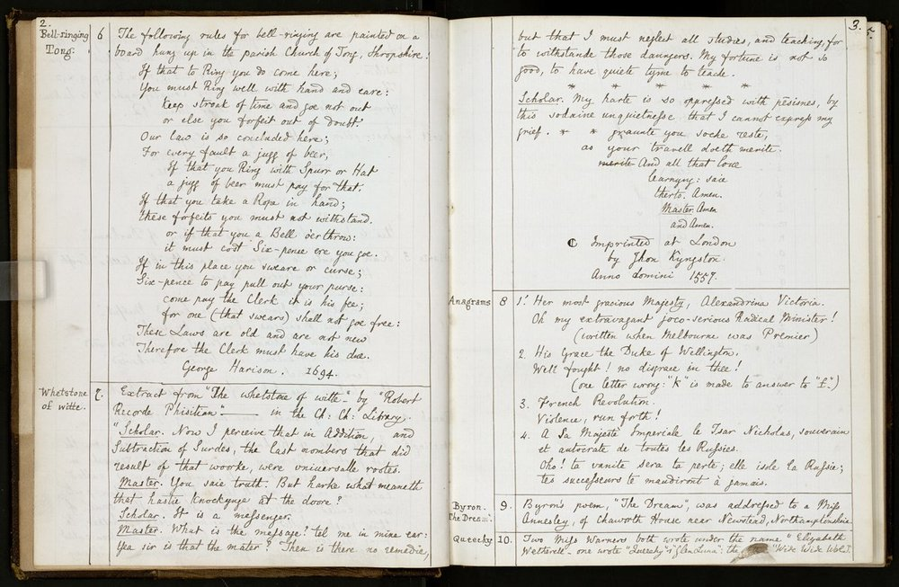 Some of Lewis Carroll's commonplace book entries. More  here .