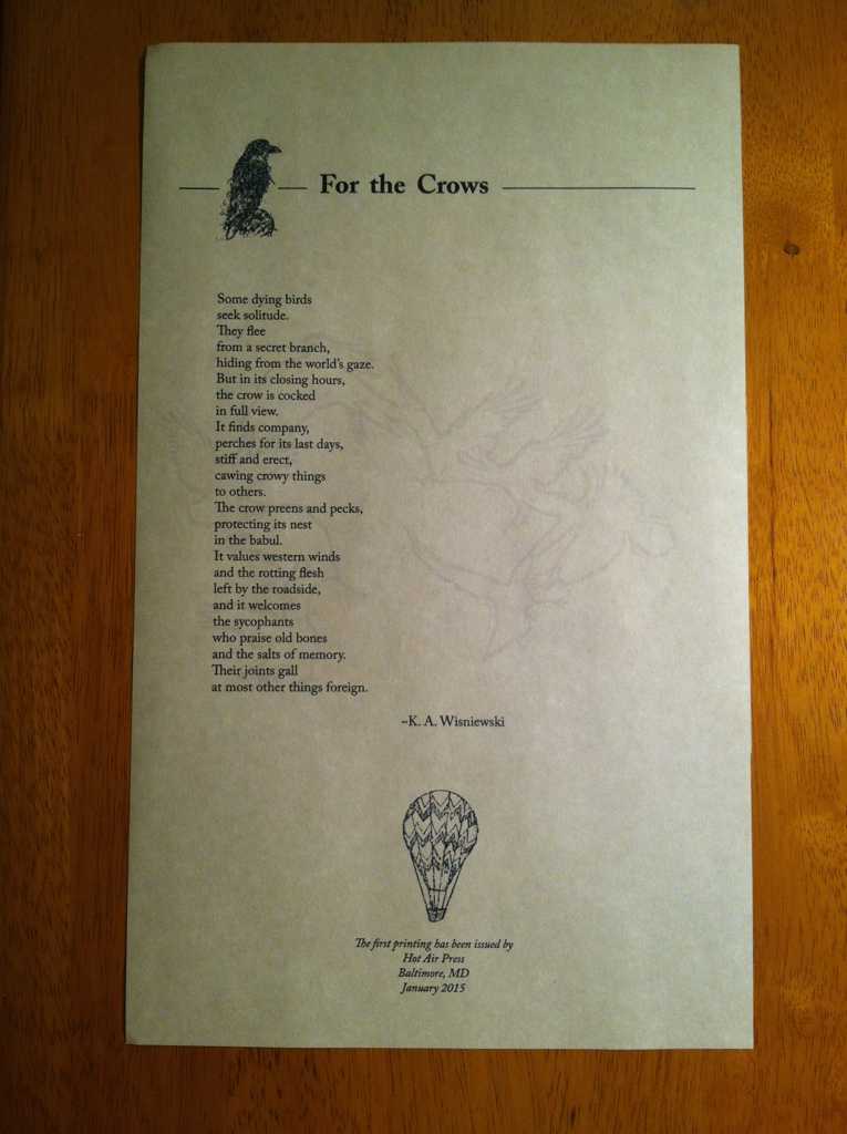 """For the Crows"" Broadside. Published by Hot Air Press, 2015."
