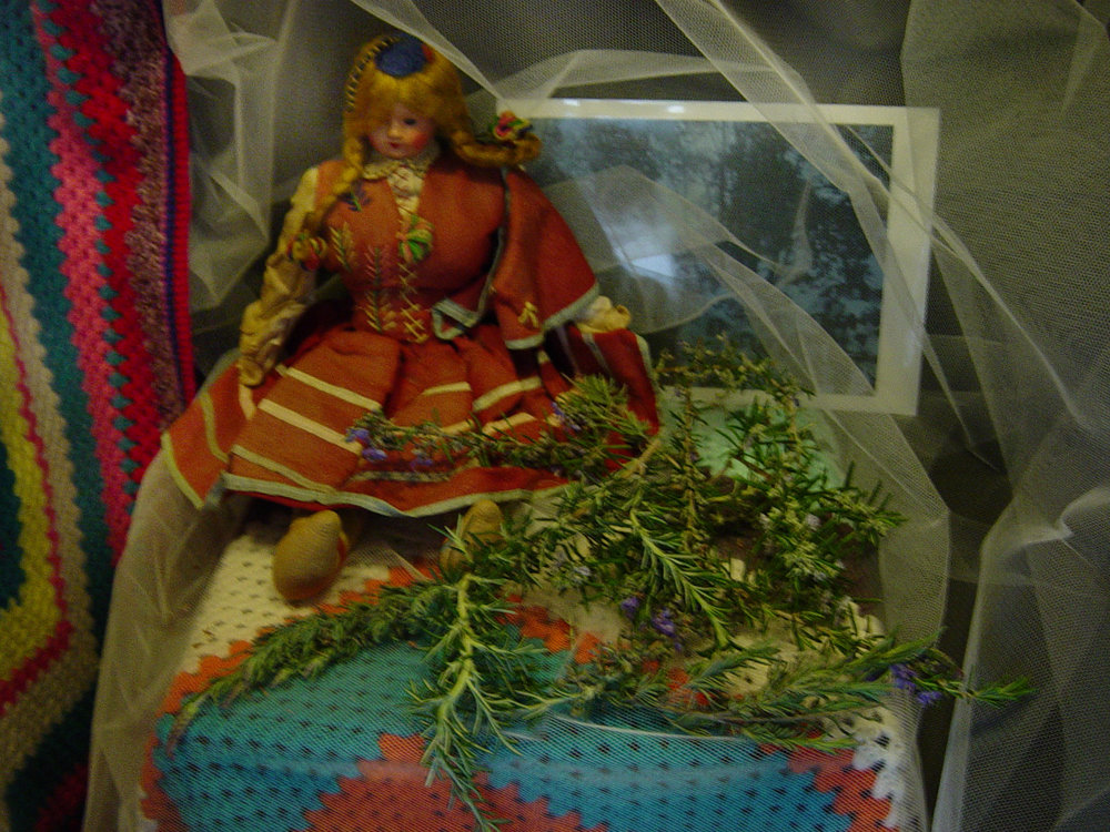 Madiera - a gift from my maternal great grandmother from her journey to England in 1972. Grandma Harrison bought the doll when she visited Portugal en route. Featured in the installation  Lost Connections , 2002, Photo by Tracey Benson 2002 .