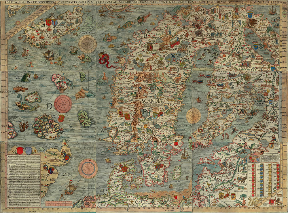 "The Carta Marina (Latin ""map of the sea"" or ""sea map""), drawn by Olaus Magnus in 1527-39, is the earliest map of the Nordic countries that gives details and place names."