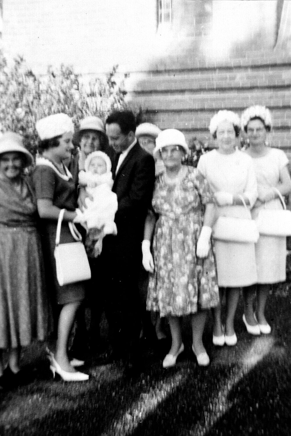 Tracey's baptism at Lutwyche Anglican Church, with four Great Grandmothers, Two Grandmas and Mum, Photograph by Garry Benson 1966.