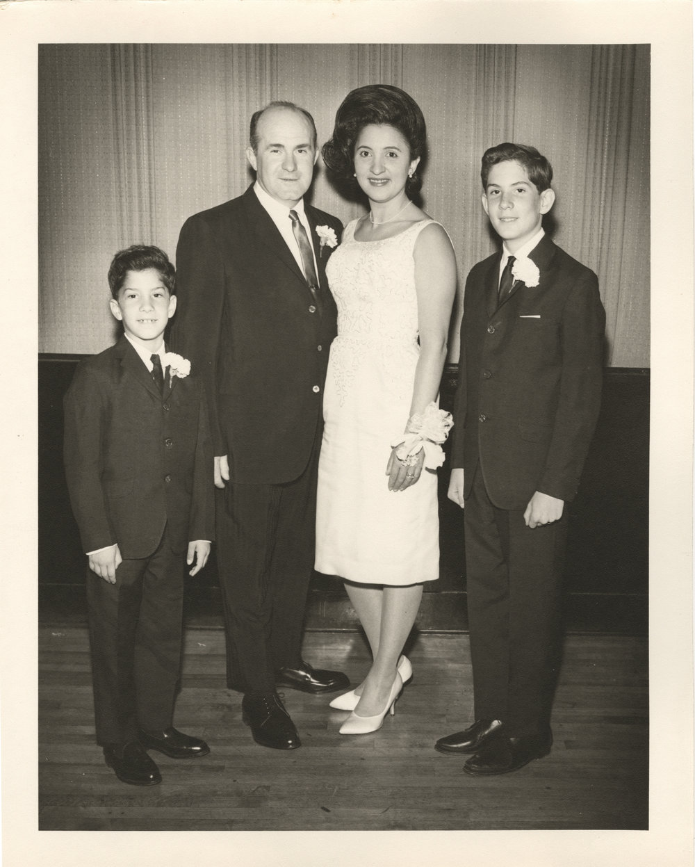 A family photograph at his Bar Mitzvah, featuring (L to R) my uncle, grandfather, grandmother, and father (1963).
