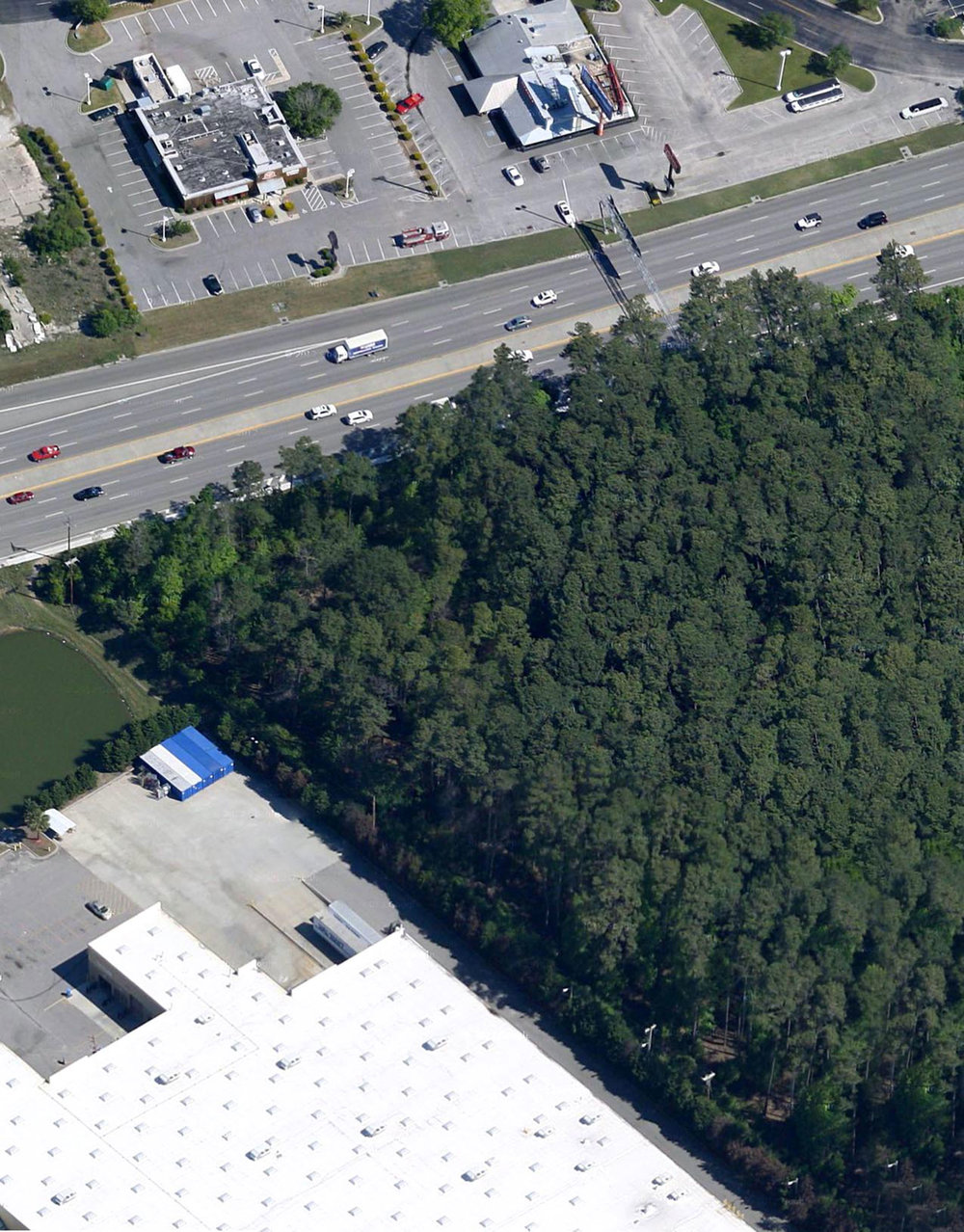 Figure 4.      Walmart Supercenter across from Myrtle Beach Mall, adjacent to Meher Spiritual Center's virgin forest .