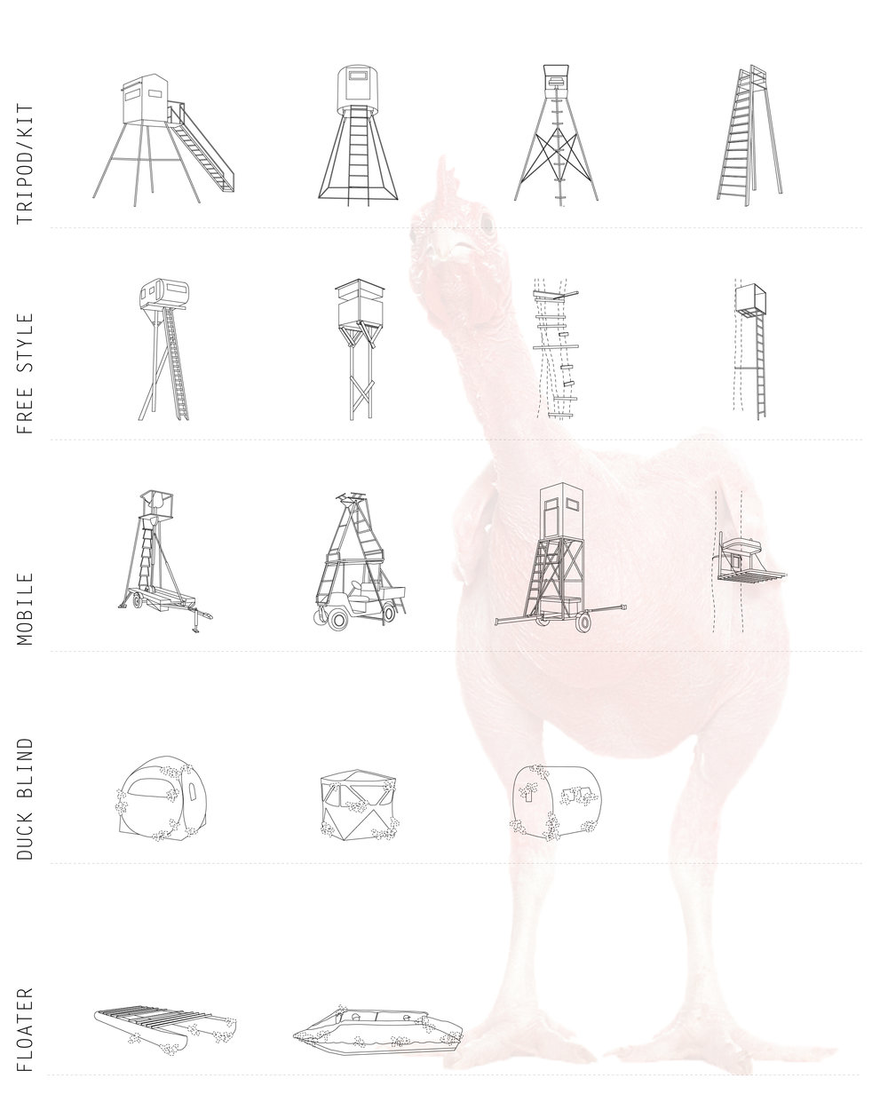 Figure 10. Deer Stand typology study, graphic assistance by RA Chelsea Silvia.