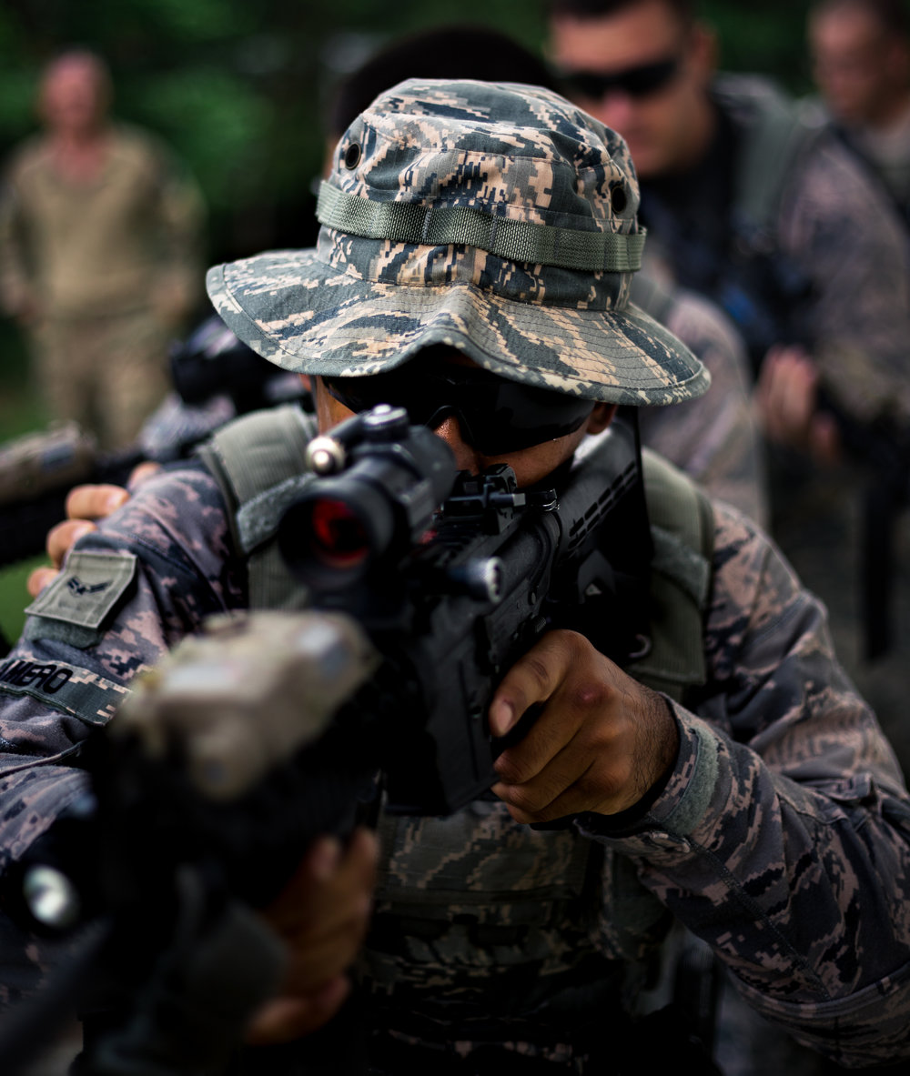 Airman with the 18th SFS Train on shooting and communicating as a team. Airman First Class Jamero, 18th Security Forces Squadron, Camp Hansen, Okinawa, Japan