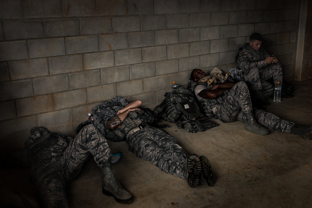 Airman of the 18SFS take a break and catch up on sleep while waiting for the days exercises to begin.  18th Security Forces Squadron, Camp Hansen, Okinawa, Japan