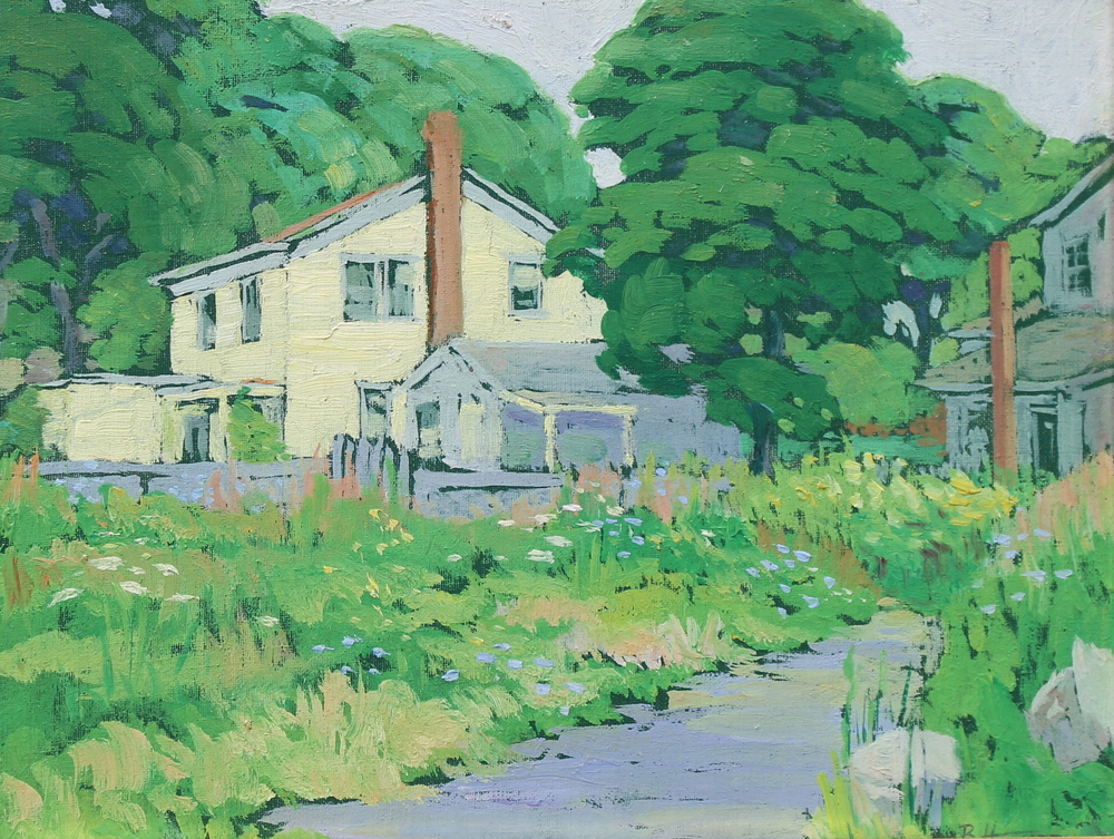 """New England Street Scene"", Oil on canvas, 8""x10"", signed LR"