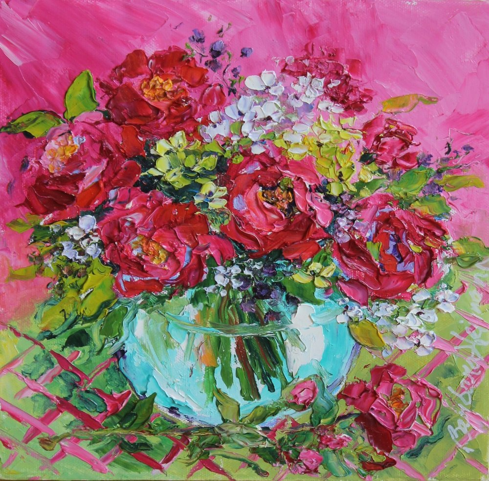 "Pink Roses in Mint Vase, 10""x10"""