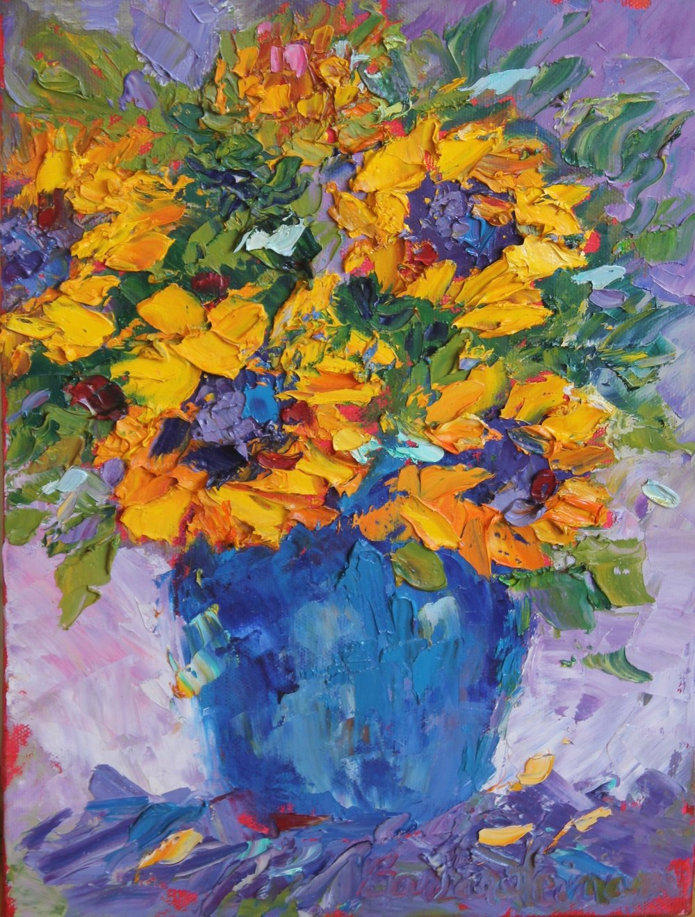 "Sunflowers in Blue Vase, 12""x9"""