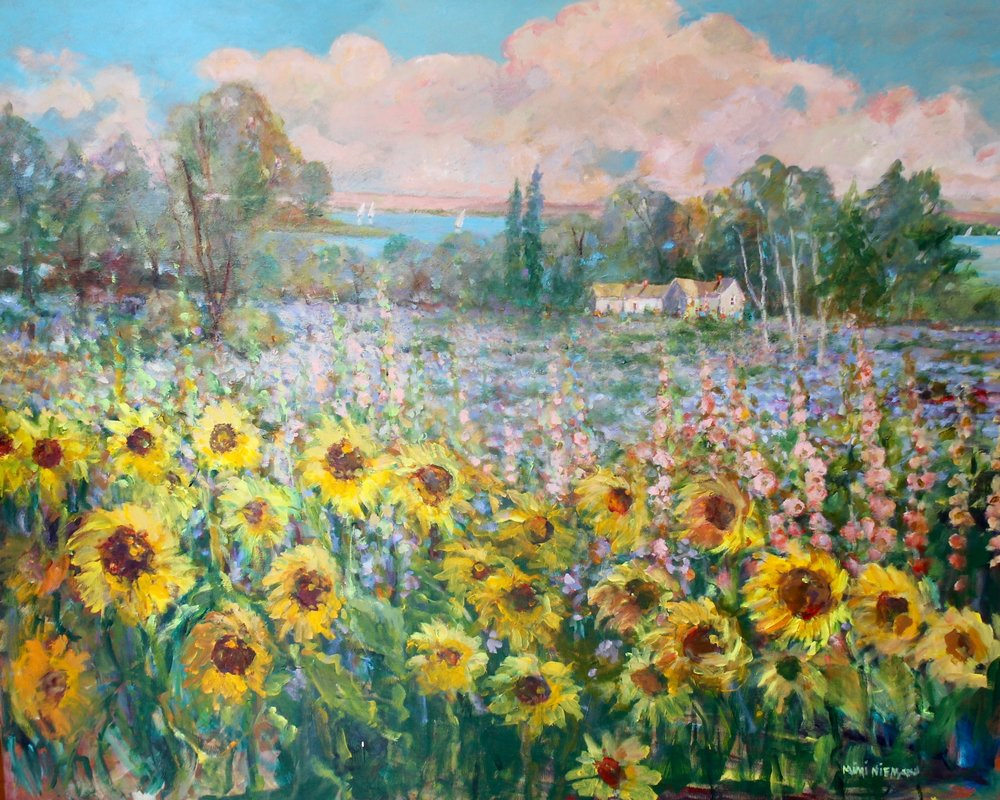 "Sunflower Fields at Leelanau, 48""x60, Oil on canvas"