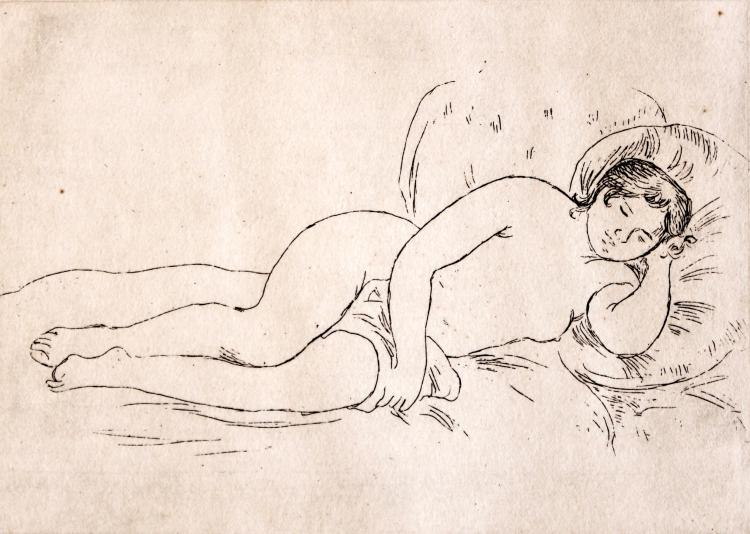 """""""Femme nue couchée"""", Original etching, Plate size: 5 1/8 x 7 3/8, paper size: 10""""x13"""""""