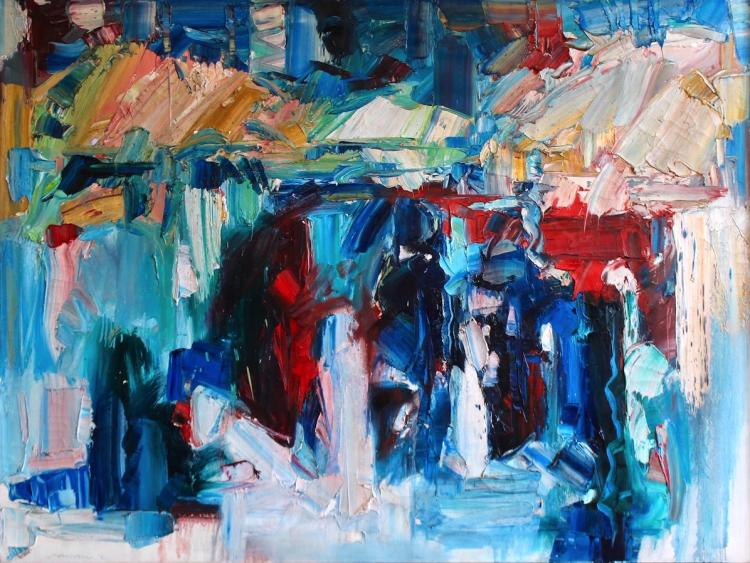 "Jack Meanwell, ""Blue Abstract"", oil on canvas, 36""x48"""