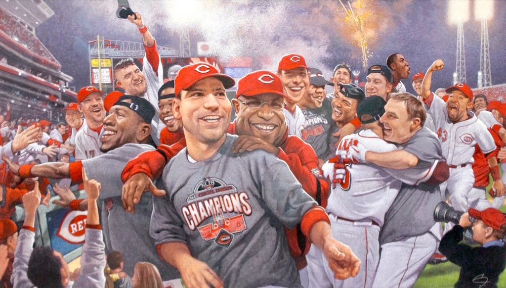 """Reds Clinch Central 2010"", Mixed media illustration, 16""x28', signed, framed."