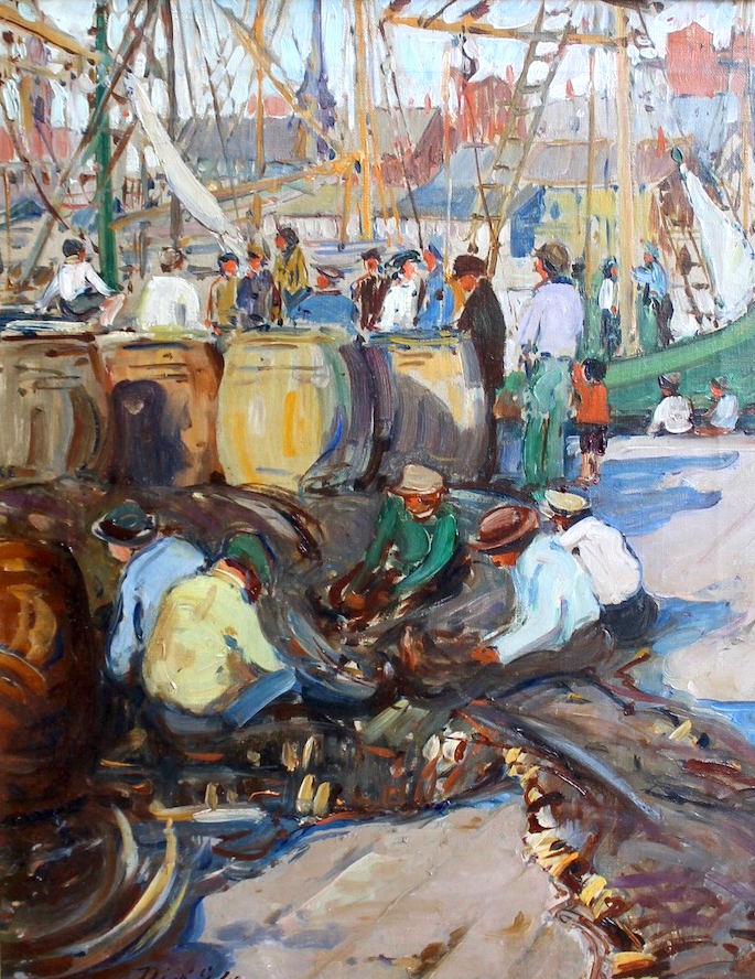 """Mending Nets, Gloucester"", Oil on canvas, 20""x16"", signed"