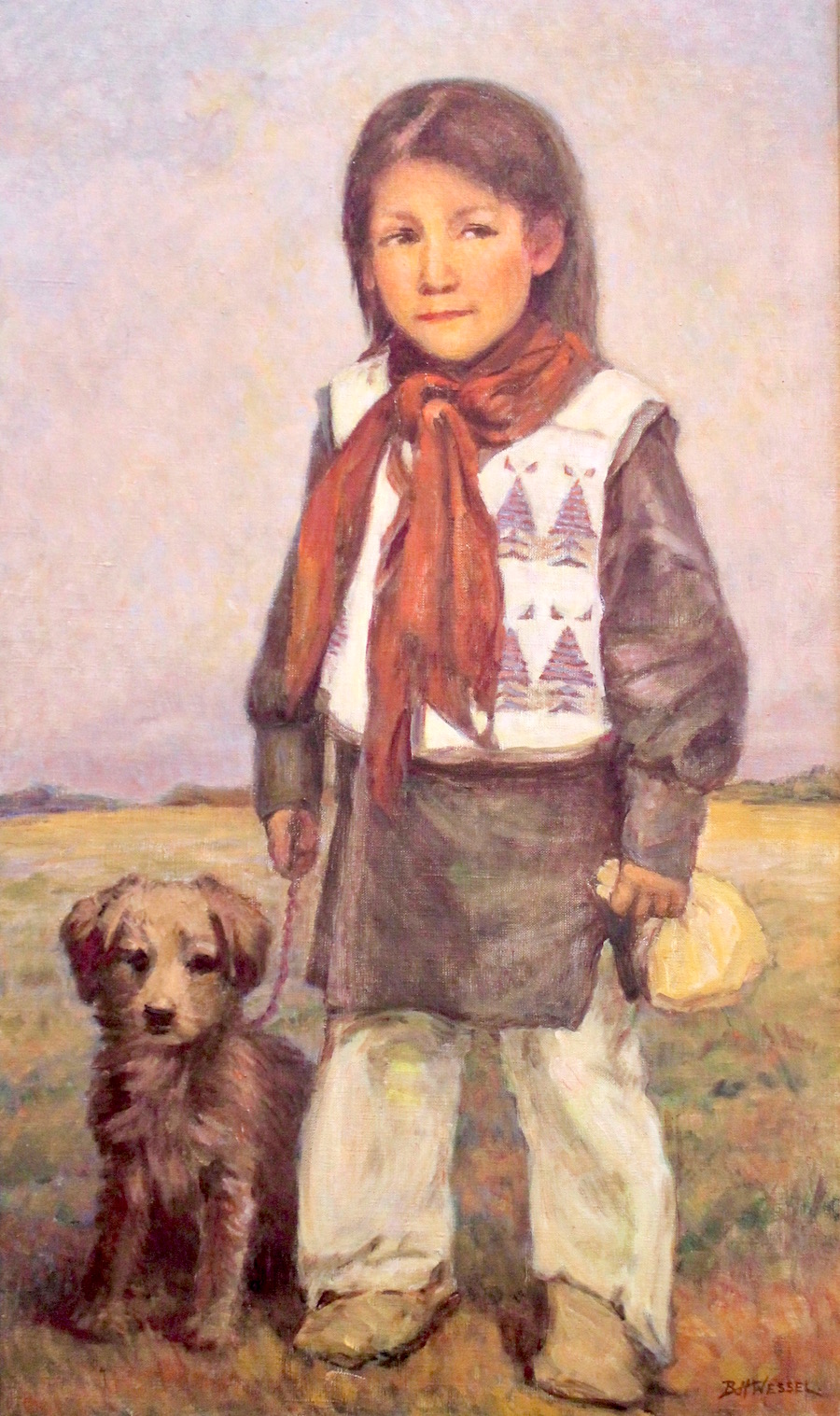 """Indian Boy with Puppy"", Oil on canvas, 30""x22"""