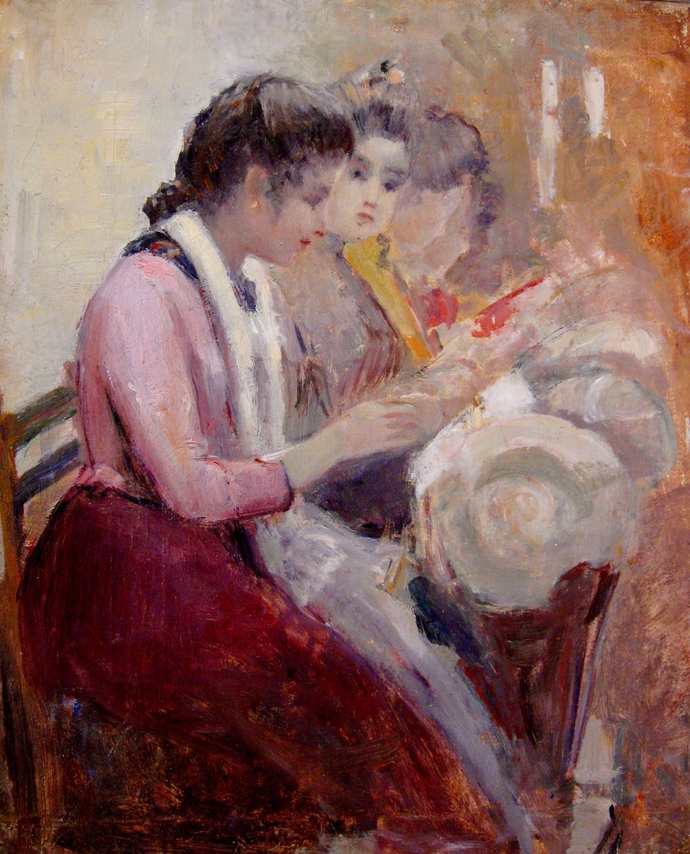 """Study for Venetian Lace Makers"", oil on canvas, 13 5/8""x 11 1/4"""