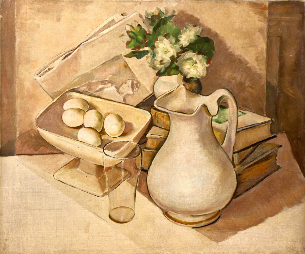 """Pitcher with Eggs"", Oil on canvas"