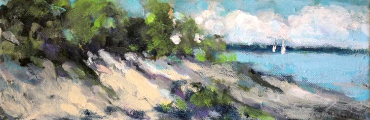 "Shoreline, Lake Michigan, 4""x12"", Oil on canvas"