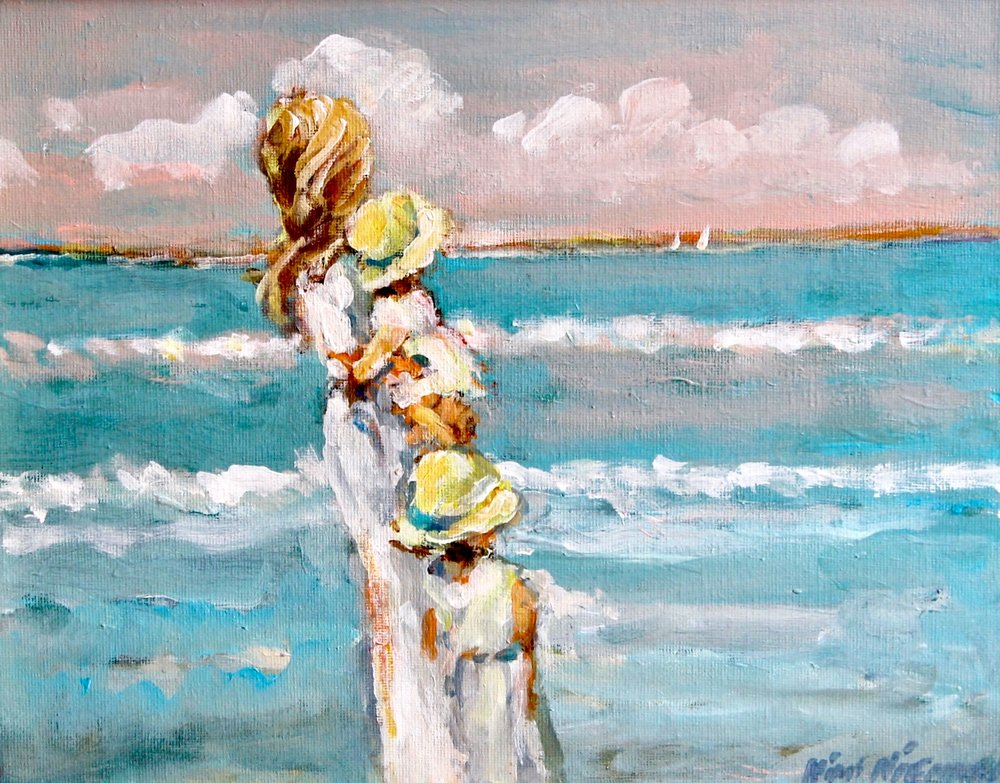 """Yellow Bonnets by the Bay"", 11""x14"", Oil on canvas"