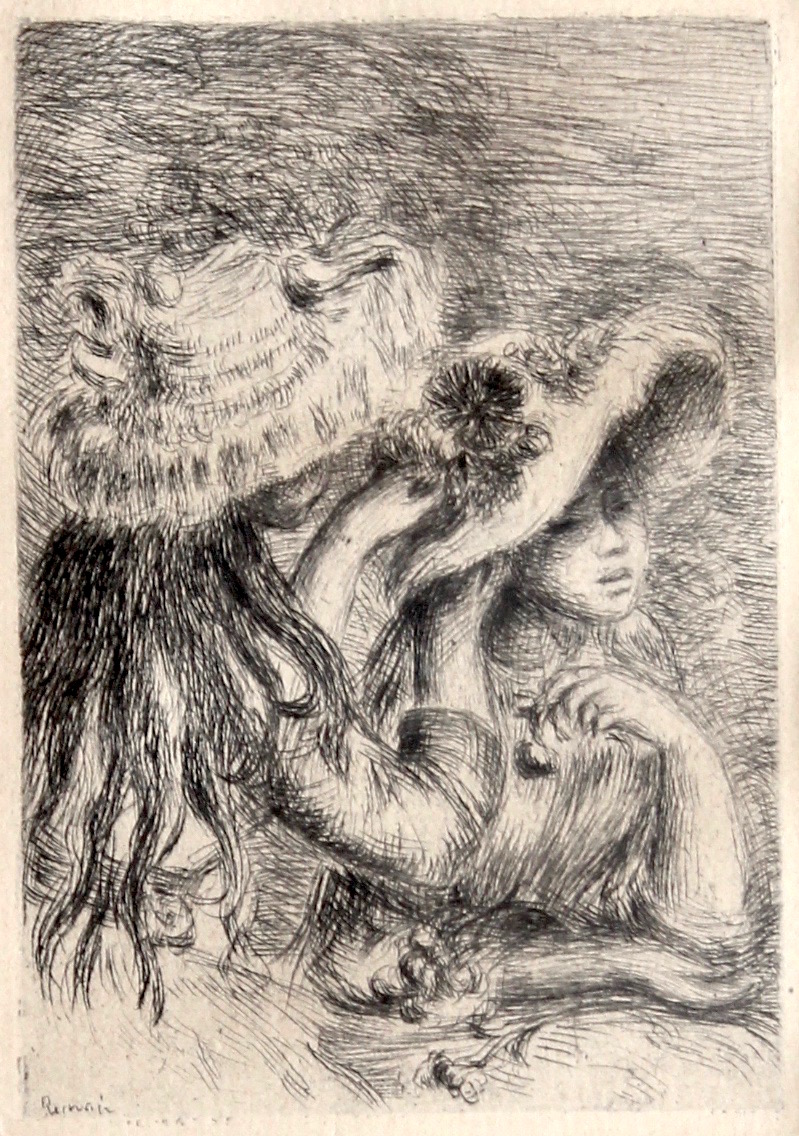 """Le chapeau ŽepinglŽe (The Pinned Hat)"", (La fille de Berthe Morisot et sa cousine), Original etching,4 5/8 x 3 3/8 in.,1894. This rendition was created circa 1894 by Renoir in much greater detail than the first two versions which feature the girls facing in the opposite direction with much less detail. The scene depicts the two serene young women (Berthe Morisot's daughter, Julie Manet, and her cousin) seated in elegant dresses and wearing large hats with ribbons on them, the model facing the viewer is having her hat adjusted by the model in the foreground. Beautifully executed, this work is a strong example of the impressionist reflection on life as that of light and beauty. Hand signed in the plate on the lower left of the image. Featured in the 1894 publication of La Vie Artistique by Gustave Geffroy and also in the 1921 work, Renoir et ses Amis by Georges Rivire."