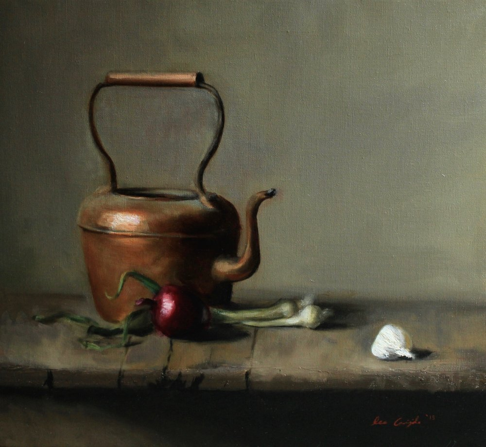 """Copper and Garlic"", Oil on canvas, 22x20 in."
